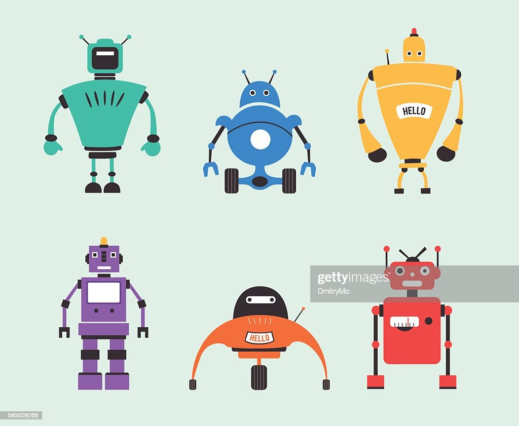 Set of robots. Vintage style. Cartoon vector illustration