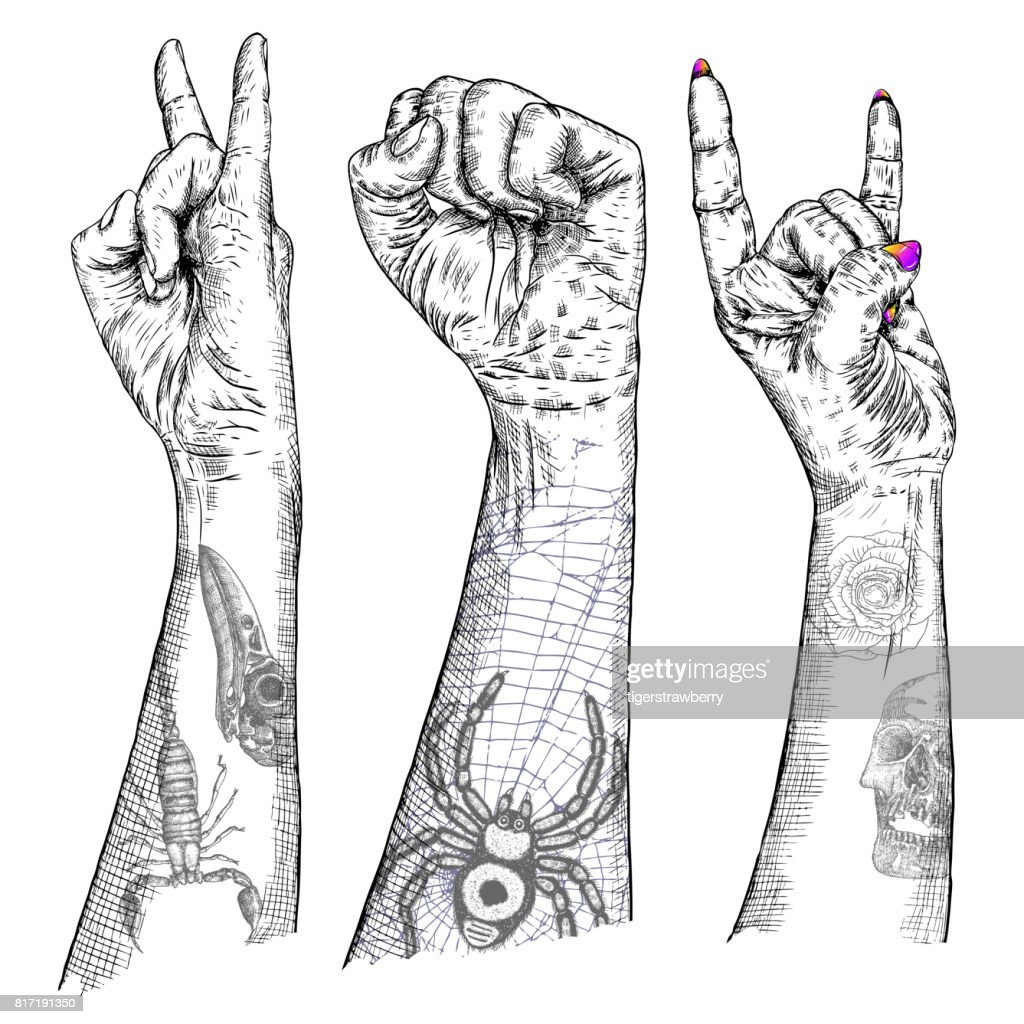 Set of rock and roll music hand sign hand drawn girl and guy style hand drawn girl and guy style fist demon symbol female and male wrist evil finger gesture woman and man hands with flesh tattoos showing satan biocorpaavc Gallery