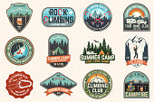 Set of Rock Climbing club and summer camp badges. Vector.