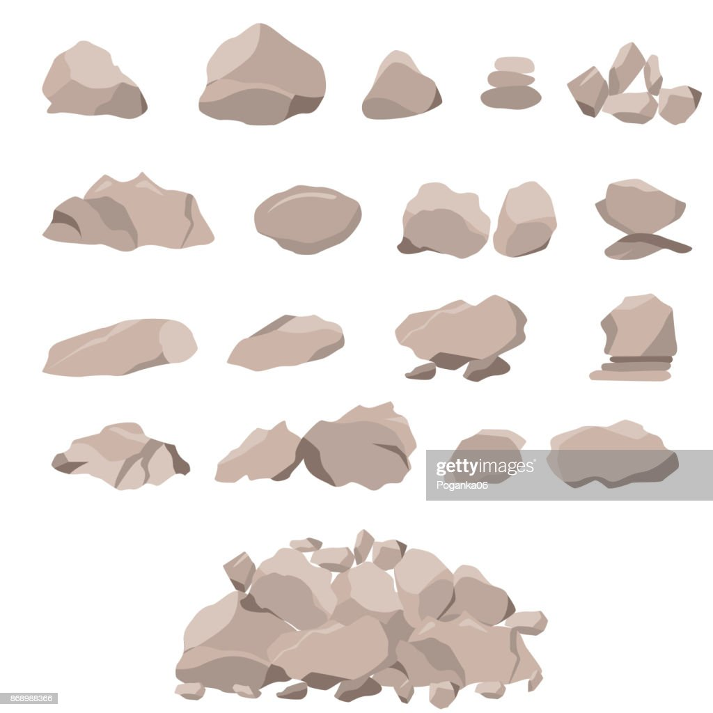 Set of rock of stones and large boulders