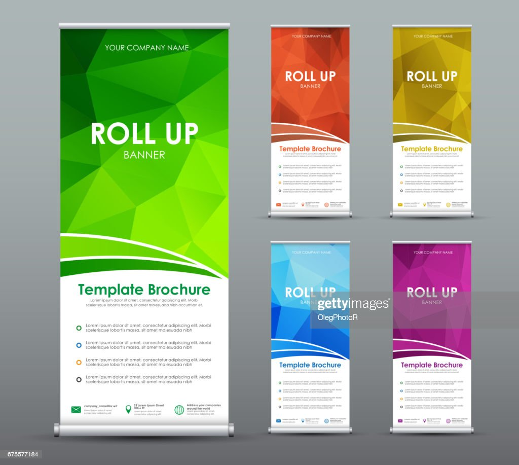 Set of roll up banner for business with abstract polygonal background.
