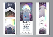 Set of roll up banner stands, abstract geometric style templates, business concept, corporate vertical vector flyers, flag layouts. Mystical Sci-Fi background. Futuristic trendy design