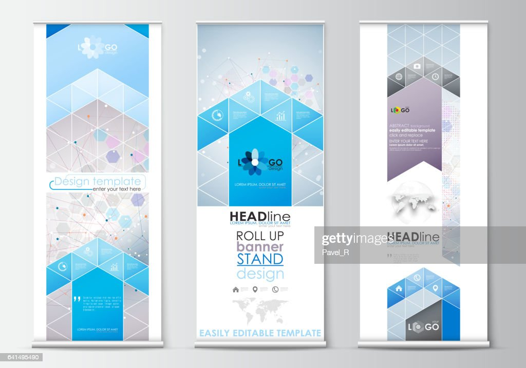 Set of roll up banner stands, flat design templates, abstract geometric style, business concept, corporate vertical flyers. Molecule structure on blue. Science healthcare background, medical vector