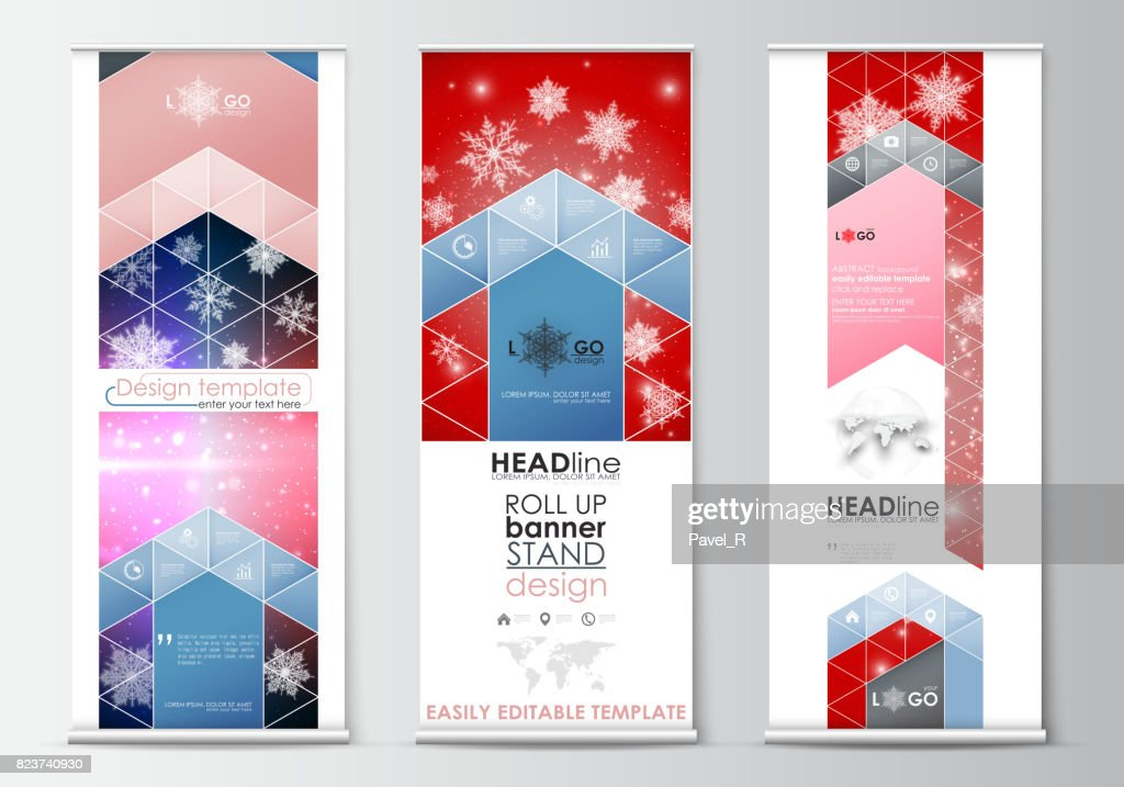 Set of roll up banner stands, flat design templates, abstract geometric style, modern business concept, corporate vertical flyers. Christmas decoration, vector background with shiny snowflakes