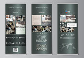 Set of roll up banner stands, flat design templates, abstract geometric style, vertical vector flyers, flag layouts. Colorful background made of dotted texture for travel business, urban cityscape