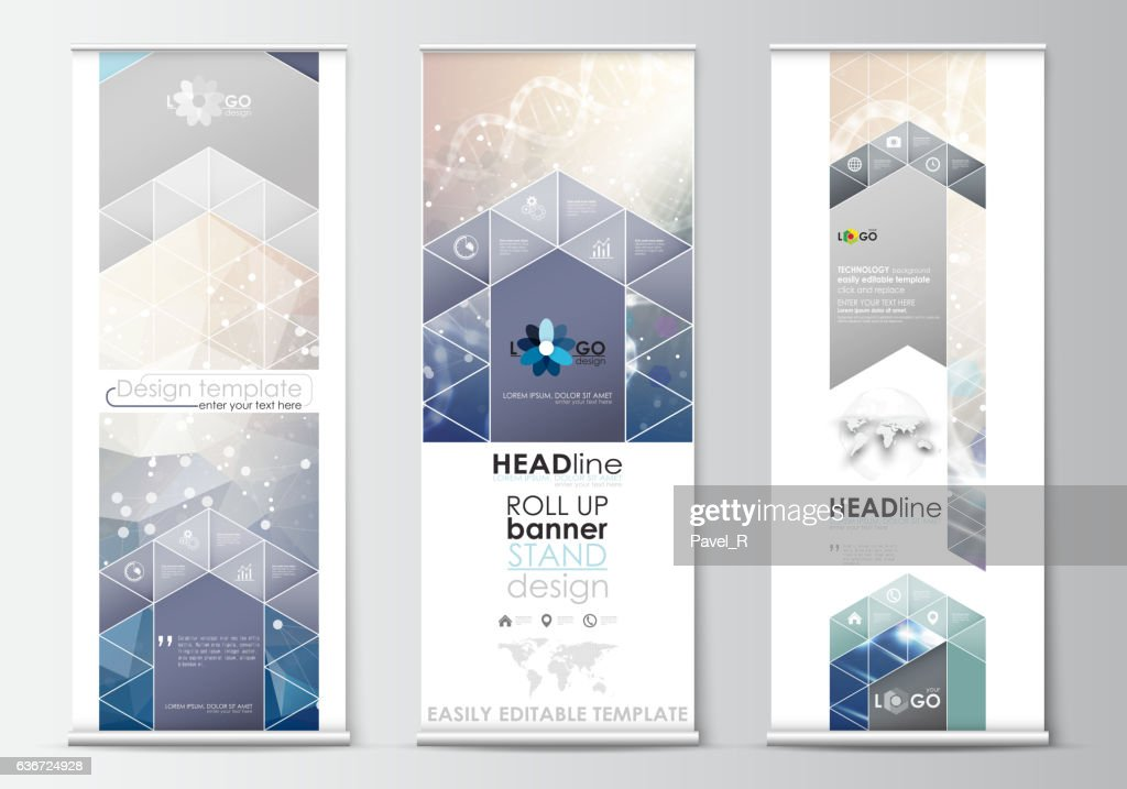 Set of roll up banner stands, flat design templates, abstract