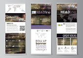 Set of roll up banner stands, flat design templates, corporate