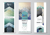 Set of roll up banner stands, flat design templates, geometric style, vertical vector flyers, flag layouts. Chemistry pattern, hexagonal molecule structure. Medicine, science, technology concept