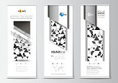 Set of roll up banner stands, flat design templates, geometric style, business concept, corporate vertical flyers. Abstract triangular background, modern gray color polygonal vector