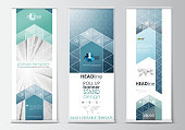 Set of roll up banner stands, flat design templates, geometric style, modern business concept, corporate vertical flyers. Abstract blue or gray pattern with lines, vector texture