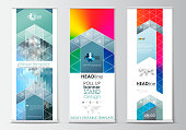 Set of roll up banner stands, flat design templates, geometric style, business concept, corporate vertical flyers. Abstract triangles, blue triangular background, modern colorful polygonal vector