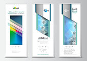 Set of roll up banner stands, flat design templates, geometric