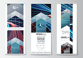 Set of roll up banner stands, flat templates, geometric style, modern business concept, corporate vertical flyers. Abstract lines background with color glowing neon streams, motion design vector