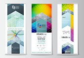 Set of roll up banner stands, geometric flat style templates, business concept, corporate vertical vector flyers, flag layout. Colorful design background with abstract shapes and waves, overlap effect