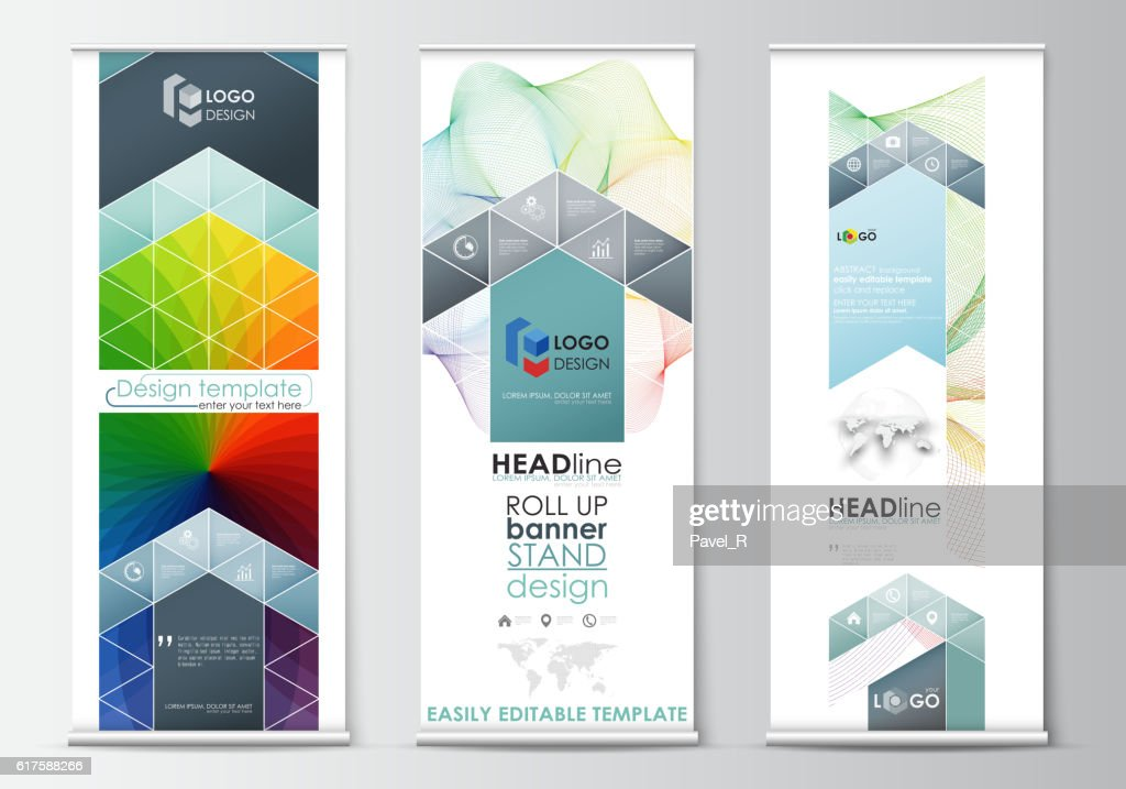 set of roll up banner stands geometric flat style templates ベクトル