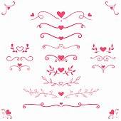 set of romantic dividers and borders