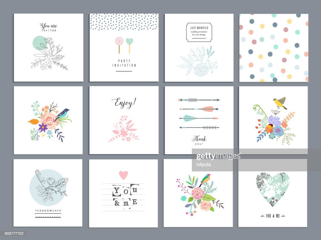 Set of romantic floral cards. Wedding, anniversary, birthday