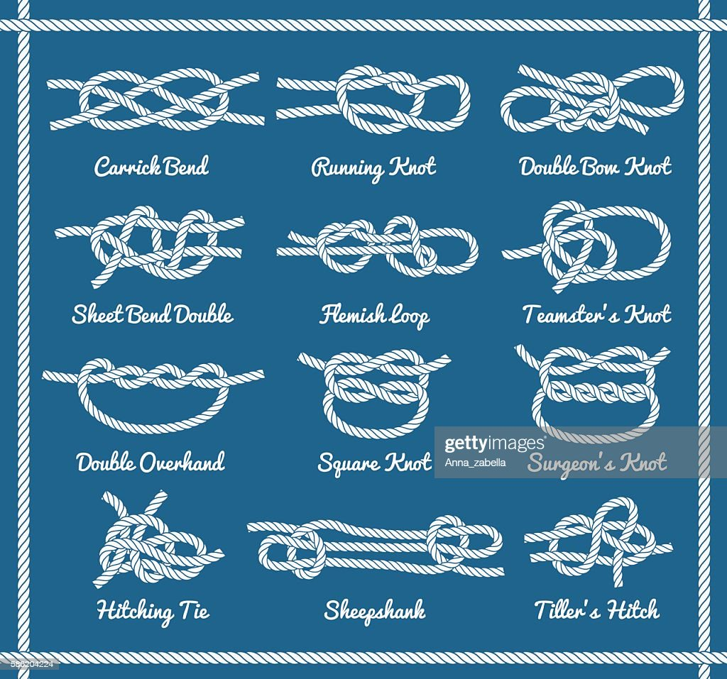Set of rope knots, hitches, bows, bends