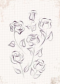 A set of rose drawn in pen and ink.