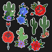 Set of roses and cactus patches elements. Set of stickers, pins, patches and handwritten notes collection in cartoon 80s-90s comic style.Vector stikers kit