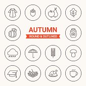 Set of round and outlined autumn icons