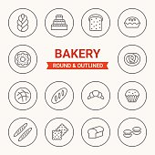 Set of round and outlined bakery icons