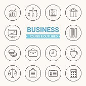 Set of round and outlined business icons