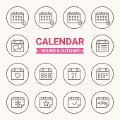 Set of round and outlined calendar icons