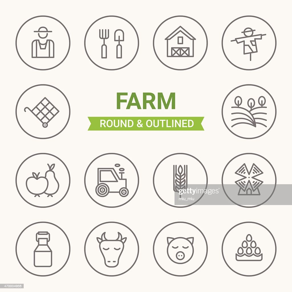 Set of round and outlined farm icons