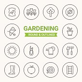 Set of round and outlined gardening icons