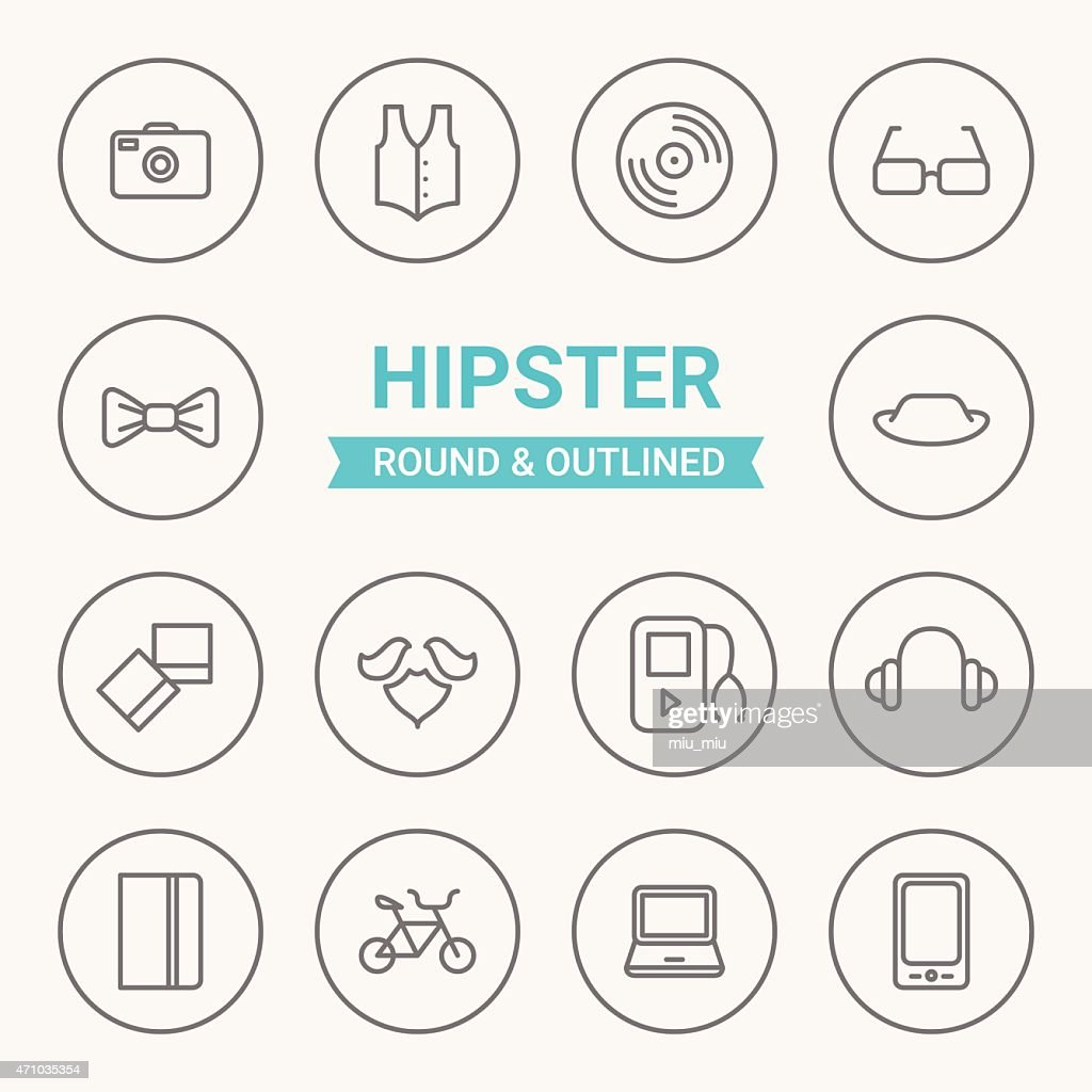 Set of round and outlined hipster icons