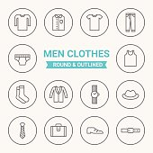Set of round and outlined men clothing icons