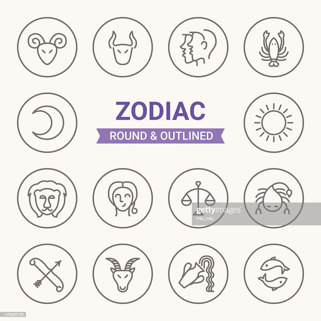 Set of round and outlined zodiac icons