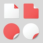 Set of round and square stickers, realistic mockups
