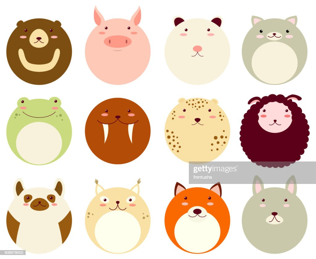 Set of round avatars icons with faces of cute animals