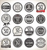 Set of round black and white 50th anniversary designs