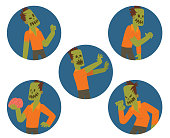 Set of round blue frames with funny zombies