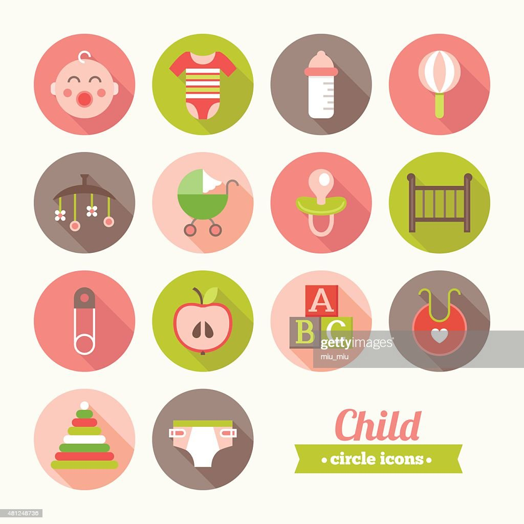 Set of round flat child icons