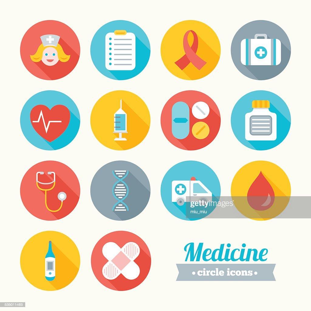 Set of round flat medical icons