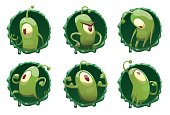 Set of round frames with funny green microbes