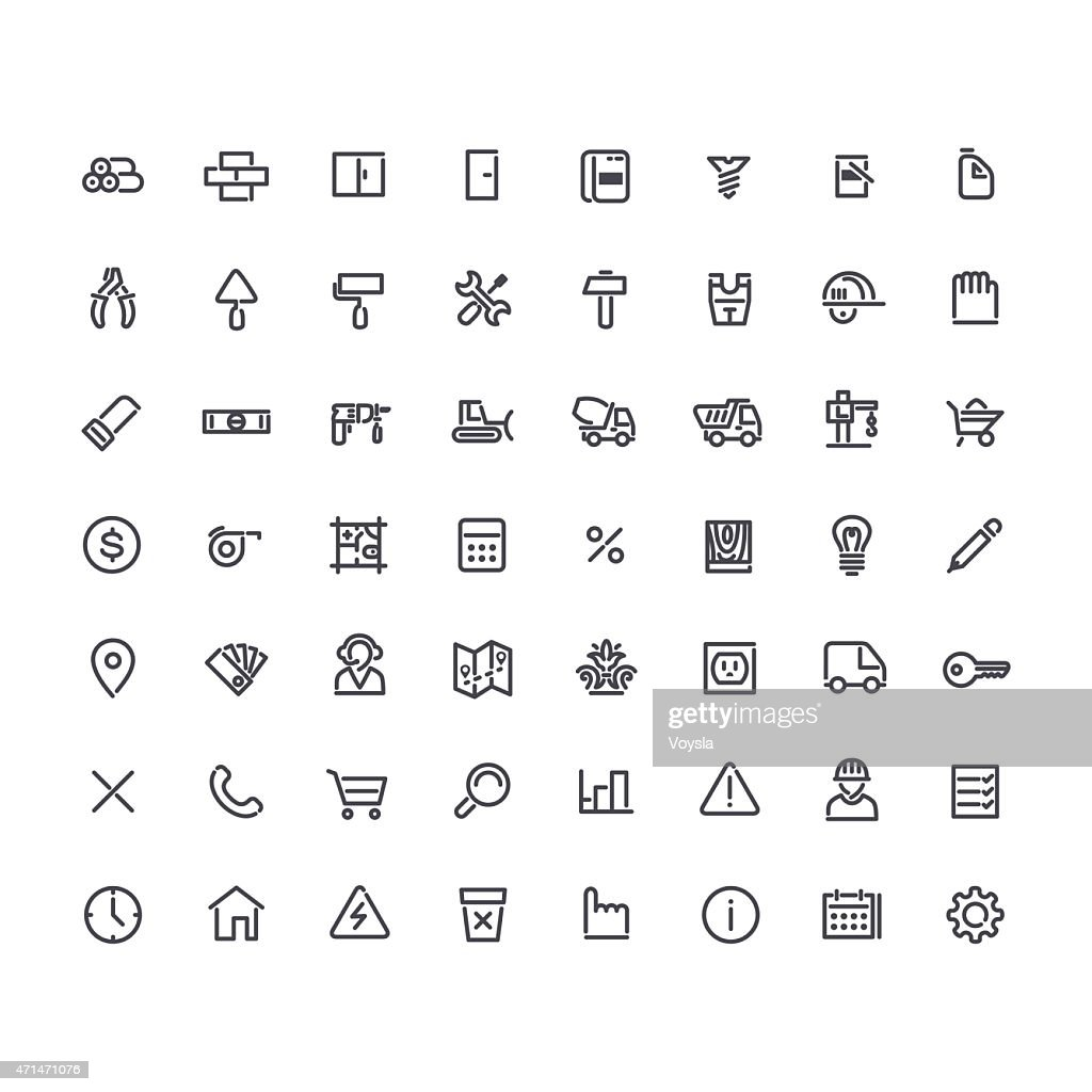 Set of Round Line Construction Icons