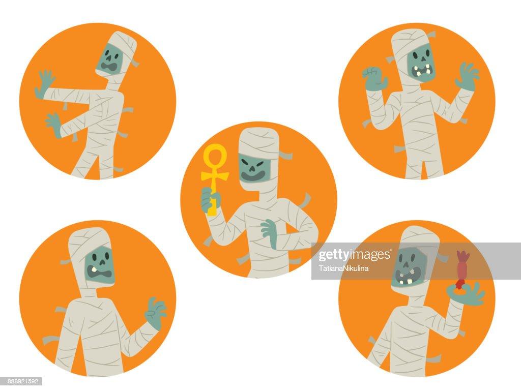 Set of round orange frames with funny mummies