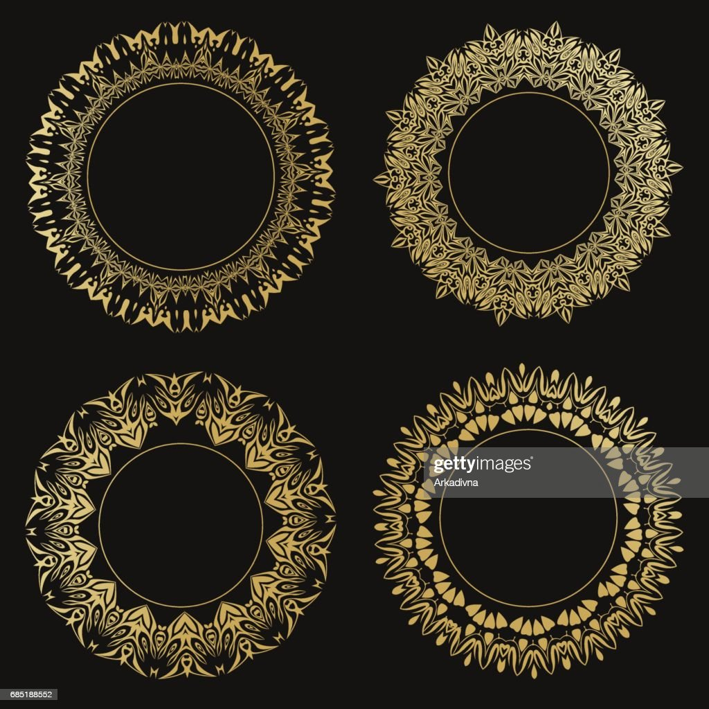 Satz Von Runde Ornamentale Rahmen Vintage Goldrahmen Auf Schwarzem ...