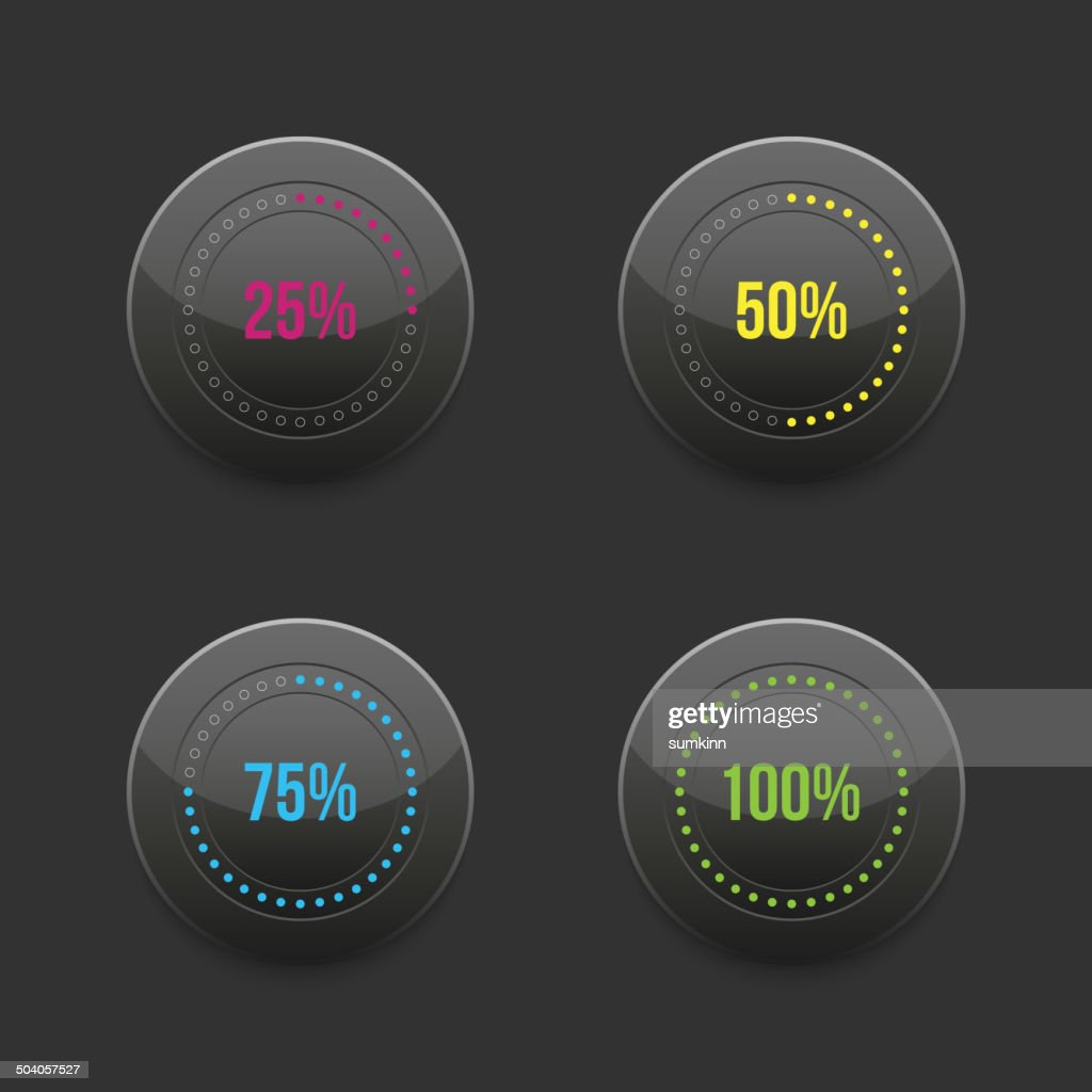 set of round progress bar element with multicolored scales downl