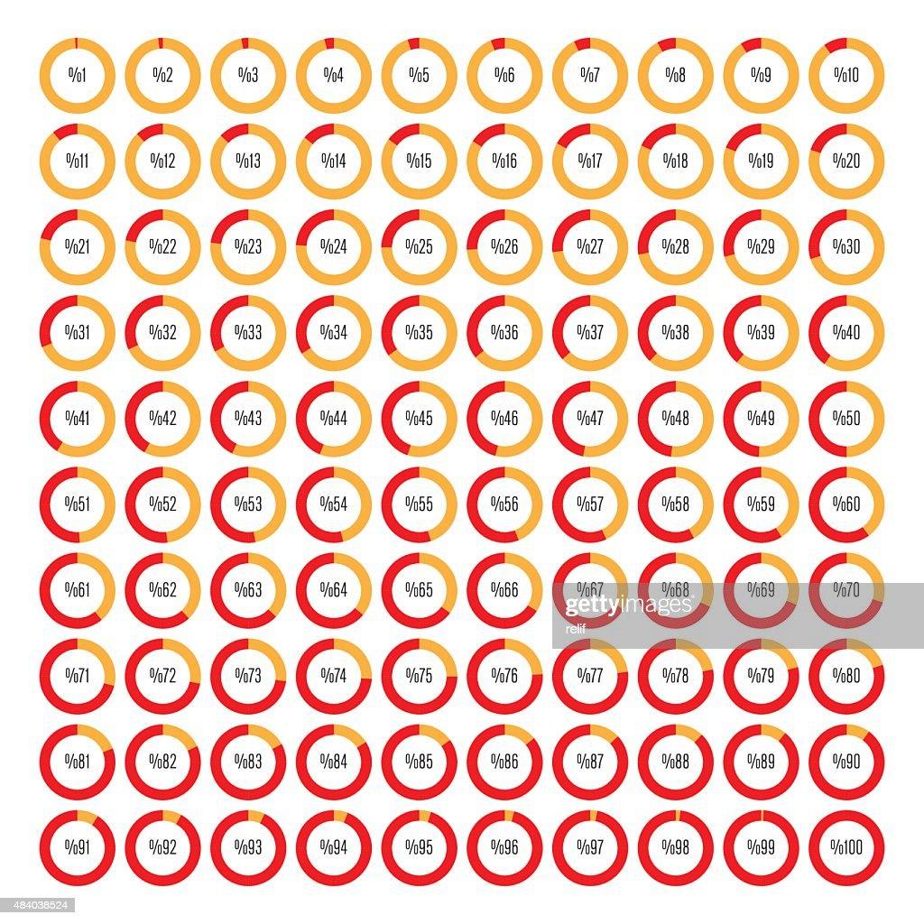 Set of round segmented charts