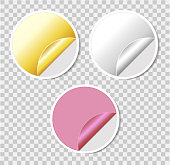 Set of round stickers with bent edge on transparent background. golden, silver and pink. Blank template for design. Web banner.