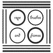 Set of round vector frames from nautical rope isolated on white background. The brush included in the file