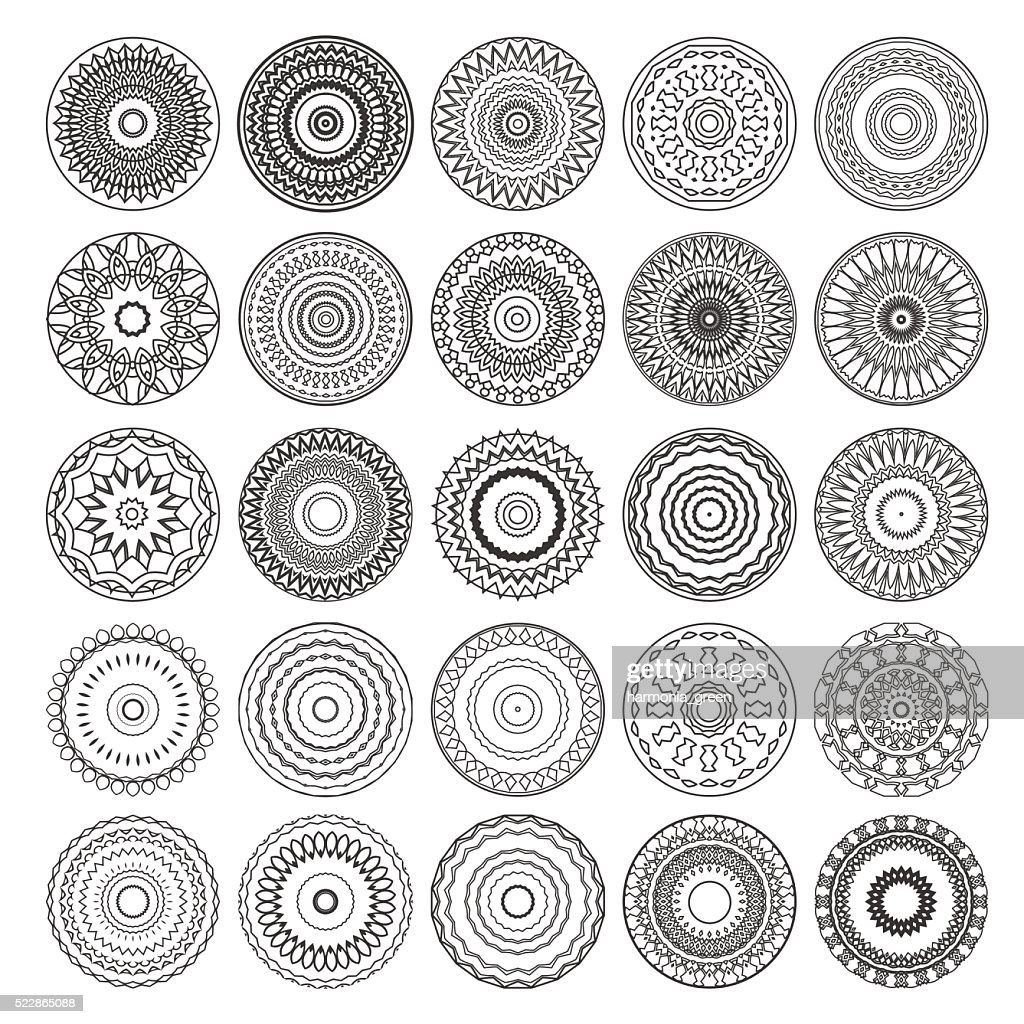 set of round vector mandalas
