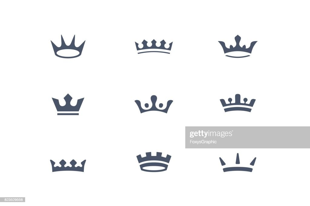 Set of royal crowns, icons