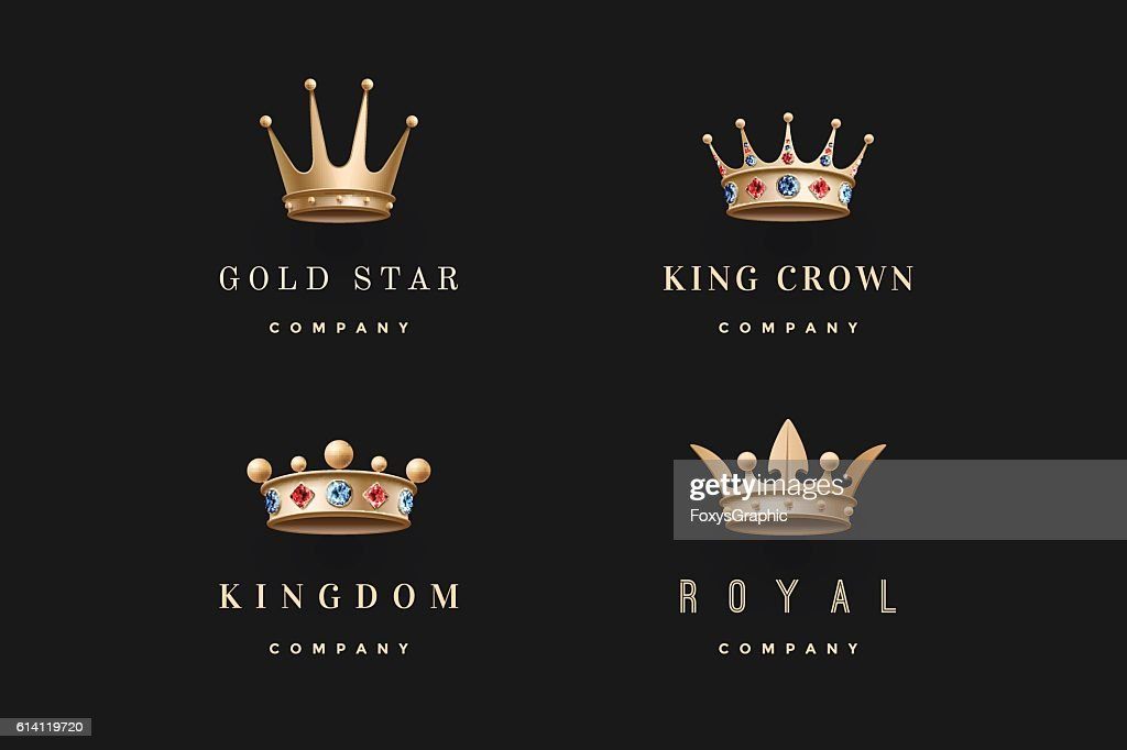 Set of royal gold crowns icons